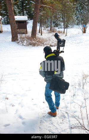 Montana winter photographer and gear - Stock Image