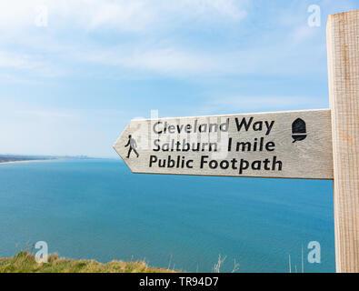 Cleveland Way National Trail coastal footpath sign near Saltburn on the North Yorkshire coast. England.UK - Stock Image