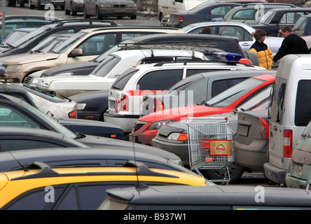 One of the parking lots along the Moscow Ring Highway - Stock Image