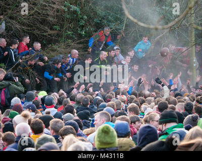 Ashbourne, UK. 13th February 2018. Ye Olde & Ancient Medieval hugball game is the forerunner to football. It's - Stock Image