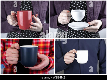 Set of Identity template. Hands holding cup or mug - Stock Image