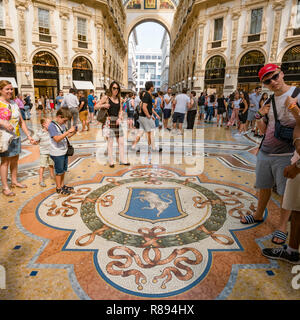 Square view of the Turin coat of arms inside Galleria Vittorio Emanuele II in Milan, Italy. - Stock Image
