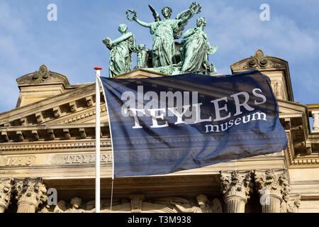 A flag flies outside of the Teylers Museum in Haarlem, the Netherlands. The long-established museum has a broad and eclectic collection. - Stock Image