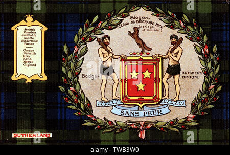 Scottish tartan -- Sutherland Clan (comprising the Cheyne, Federith, Gray, Keith, Mowat and Oliphant families), with butcher's broom badge, coat of arms, slogan (a bridge of Dunrobin) and motto (Sans Peur, Without Fear).       Date: circa 1908 - Stock Image