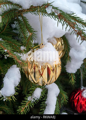 Closeup of snow covered Christmas tree bauble decorations on an outdoor Christmas tree. - Stock Image