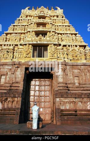 Door entrance of Chennakesava Temple, Belur , Karnataka, India - Stock Image