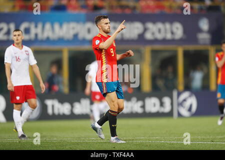 the Stadio Renato Dall'Ara, Bologna, Italy. 22nd June, 2019. Borja Mayoral (ESP), JUNE 22, 2019 - Football/Soccer : Mayoral celebrate after his goal during UEFA European Under-21 Championship 2019 Group stage match between Under-21 Spain 5-0 Under-21 Poland at the Stadio Renato Dall'Ara, Bologna, Italy. Credit: Mutsu Kawamori/AFLO/Alamy Live News - Stock Image
