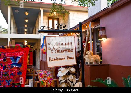 La Villita weavers handwoven shopping souvenirs historic arts village san Antonio texas tx tourist attraction shopping - Stock Image