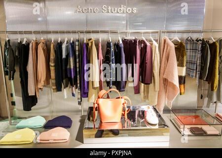 London England United Kingdom Great Britain Soho Liberty Department Store shopping luxury brands upmarket women's clothing designer Acne Studios bouti - Stock Image
