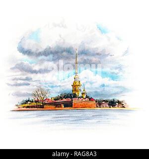 Watercolor Saint Petersburg, Russia - Stock Image