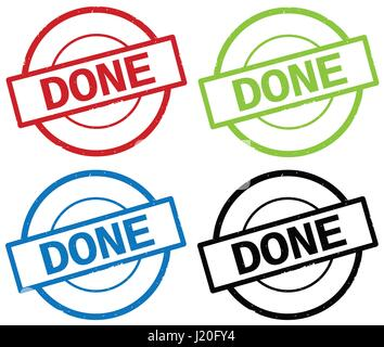 DONE text, on round simple stamp sign, in color set. - Stock Image