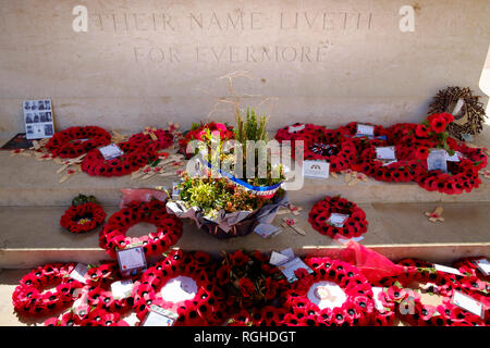 The Stone of Remembrance at The Thiepval Memorial engraved Their Name Liveth For Evermore - The memorial dedicated to the soldiers & officers missing  - Stock Image