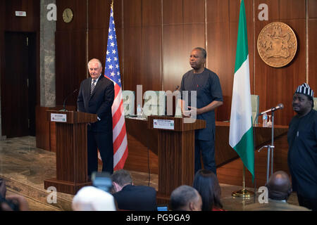 U.S. Secretary of State Rex Tillerson participates in a joint press availability with Nigeria Foreign Minister Geoffrey Onyeama at the Aso Rock Presidential Villa, Abuja, Nigeria on March 12, 2018. - Stock Image