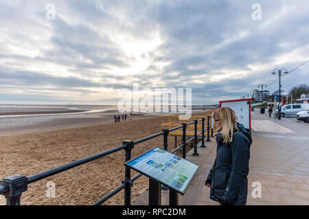 Cleethorpes, Lincolnshire, East Coast, England 31/12/2018. Cleethorpes promenade, reading sign, seafront, promenade, historic sign, beach, front, UK - Stock Image