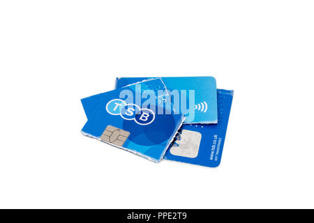 A TSB bank debit card cut up into pieces - Stock Image