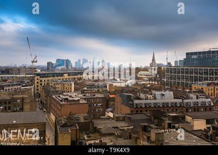 London Skyline from Shoreditch - Stock Image