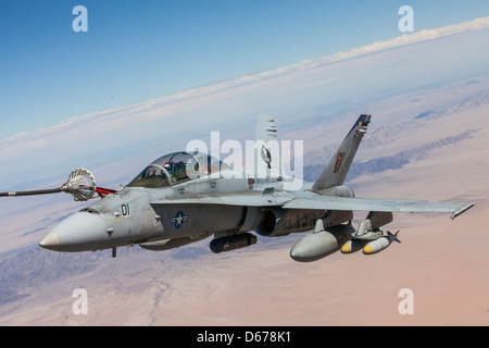 Maj. Eric Geyer, an F-18 Hornet instructor with Marine Aviation Weapons and Tactics Squadron 1, and Capt. Kyle Haire, - Stock Image
