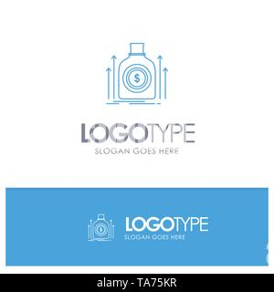 Bag, Money, Dollar, Fund, Loan Blue outLine Logo with place for tagline - Stock Image