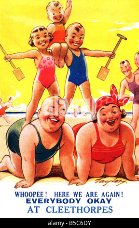 1930s Comic Art Postcard Seaside EDITORIAL USE ONLY - Stock Image