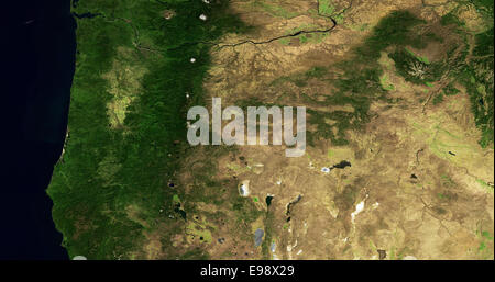 aerial map of the State of Oregon - Stock Image