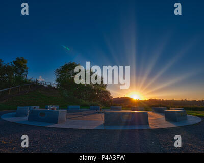 Wirksworth, Derbyshire, UK. 21st June, 2018. Summer solstice UK: Pagan's celebrating the sun rising on the summer estival solstice at the star disc above Wirksworth in the Derbyshire Dales Credit: Doug Blane/Alamy Live News - Stock Image