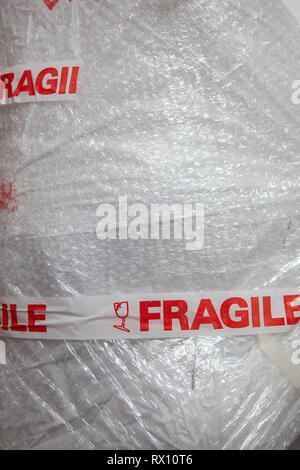 Fragile Package in Bubble Wrap - Stock Image