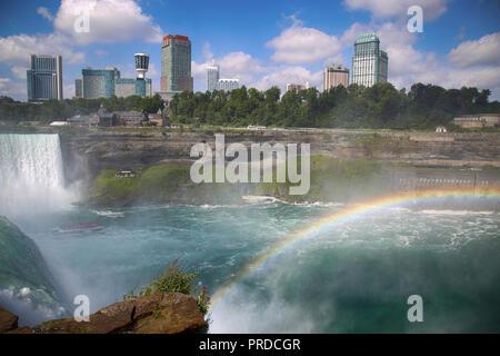 Bautiful view of Niagara Falls with Rainbow from New York State, USA - Stock Image