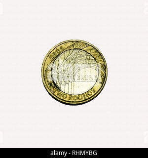 Limited edition British £2 coin commemorating Isambard Kingdom Brunel the famous engineer with image of arches from paddington station - Stock Image