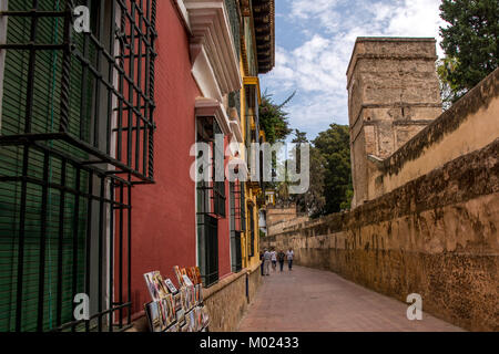 SEVILLE, ANDALUSIA / SPAIN - OCTOBER 13 2017: NARROW STREET IN OLD PART OF SEVILLE - Stock Image