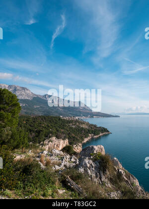 Great landscape on sunny day on Makarska riviera in Croatia - Stock Image