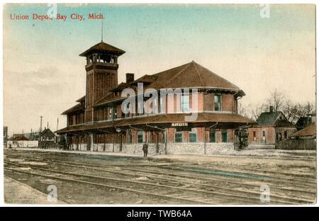 Railway Station (Union Depot) at Bay City, Michigan, USA.      Date: 1910 - Stock Image