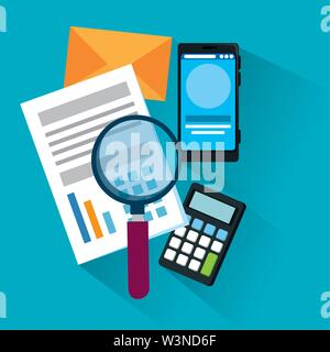 document information with magnifying glass and smartphone - Stock Image