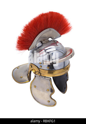 Old Roman Army Helmet Isolated on White Background. - Stock Image