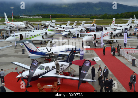 Aircraft on the static park at the 2013 Ebace Expo in Geneva, Switzerland. - Stock Image