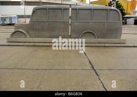 Grey bus concrete sculpture Memorial to Victims of the Nazis' Euthanasia Program berlin germany deutschland - Stock Image