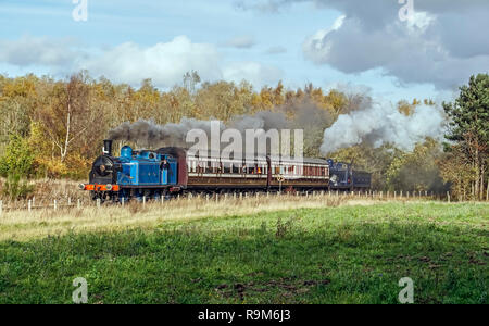 Special Caledonian Railway train with engines 419 & 828 & Caledonian coaches at Bo'ness & Kinneil Railway Steam Gala 2018 Bo'ness Falkirk Scotland UK - Stock Image