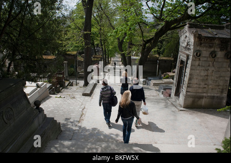 Paris, France, People Promenading in Pere Lachaise Cemetery - Stock Image