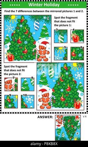 New Year or Christmas visual puzzles with christmas tree and ginger man. Find the differences between the mirrored pictures. Spot the wrong fragments. - Stock Image