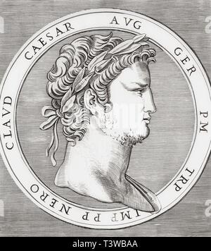 Nero, 37 AD - 68 AD.  Roman emperor. - Stock Image