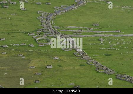 Abandonded settlement on the isle of Hirta in the Saint Kilda archipelago, Scotland. June 2015. - Stock Image