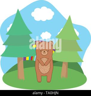 Bear cartoon design, Animal cute zoo life nature and fauna theme Vector illustration - Stock Image