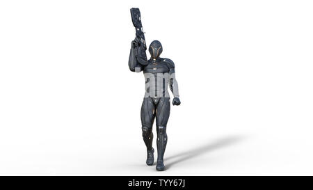Futuristic android soldier in bulletproof armor, military cyborg armed with sci-fi rifle gun walking on white background, 3D rendering - Stock Image