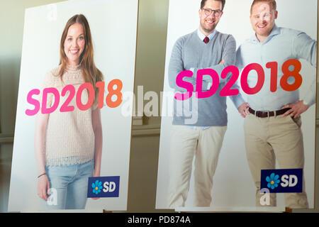 Stockholm, Sweden, August 7, 2018. Sweden Democrats election posters 2018.  Credit: Barbro Bergfeldt/Alamy Live News - Stock Image