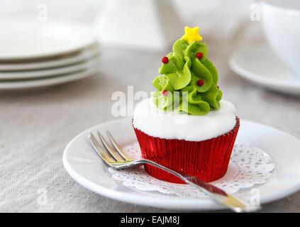 Christmas cupcake - Stock Image