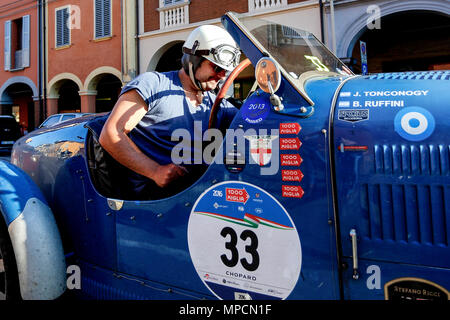 Modena, Italy. 21th, May 2016.  (L-R)  Juan Tonconogy and Barbara Ruffini from Argentina, with their model car Bugatti 40 (1927), partecipate in the r - Stock Image