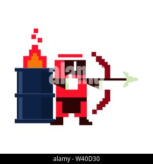 Videogame pixelated ninja with arch and barrel in fire - Stock Image