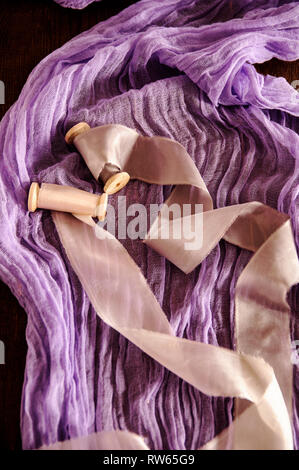 color hand dyed organic cheese cloth runner - Stock Image