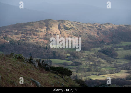 Cumbria UK. 14th January 2019. UK weather. Sunlight illuminates the fells abbove the langdale Valley. Colder weather will arrive by the end of the week. Credit: Mark Hunter/Alamy Live News - Stock Image