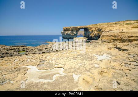 Azure window on Gozo Island - Malta - Stock Image