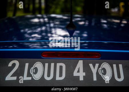 Bielsko-Biala, Poland. 12th Aug, 2017. International automotive trade fairs - MotoShow Bielsko-Biala. '2 Loud 4 You' caption on a car with high bass speakers. Credit: Lukasz Obermann/Alamy Live News - Stock Image